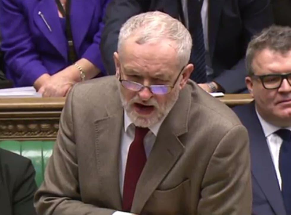 Labour leader Jeremy Corbyn at PMQs