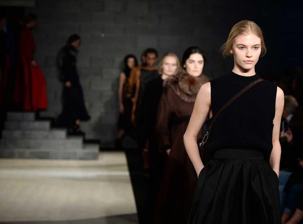 Models in Amanda Wakeley's show at London Fashion Week
