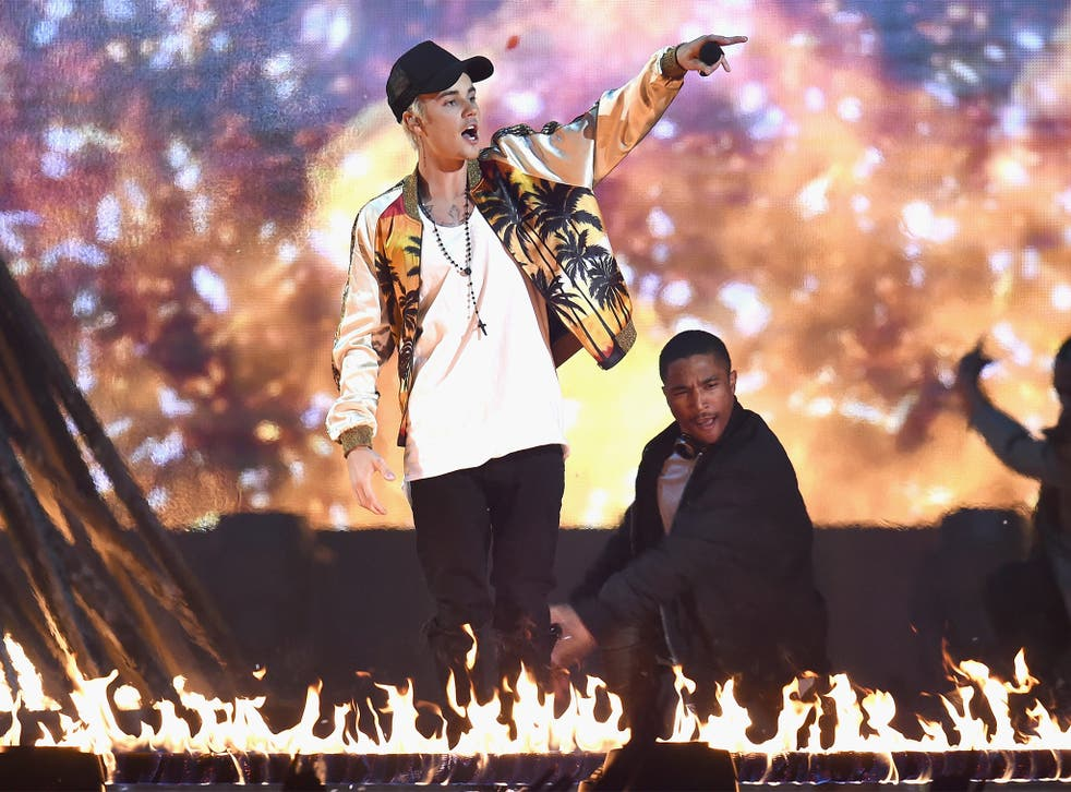 Justin Bieber performs on stage during the ceremony