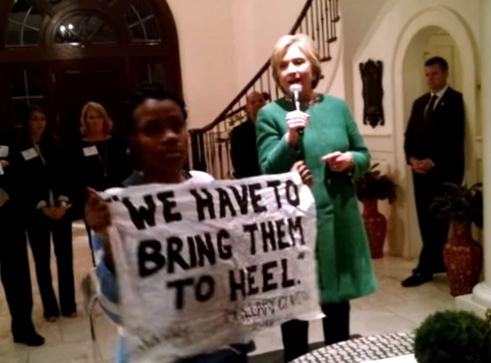 A BlackLivesMatter protester interrupting Hillary Clinton this week