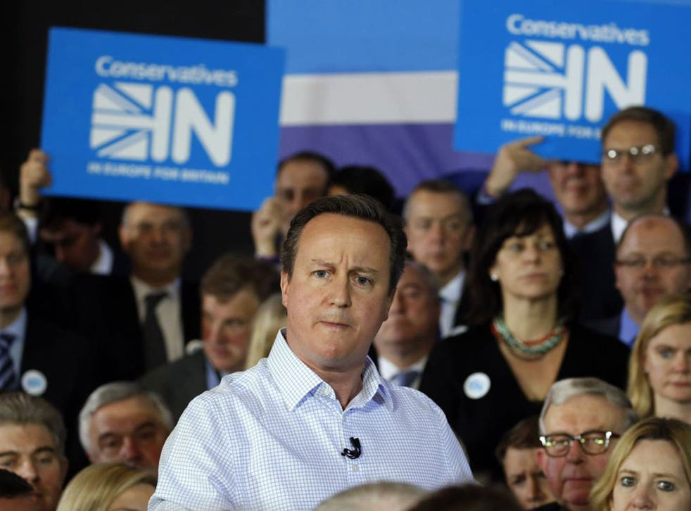 David Cameron launches the Conservatives IN Campaign at the ICA in London. The In/Out referendum date has been announced as 23 June
