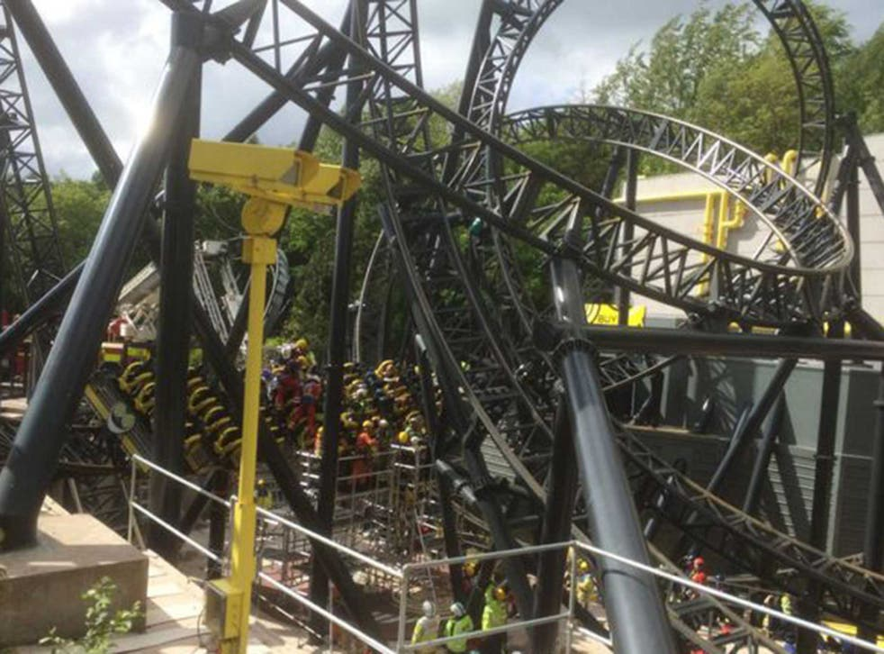 The scene at the Smiler rollercoaster at Alton Towers shortly after the crash last summer