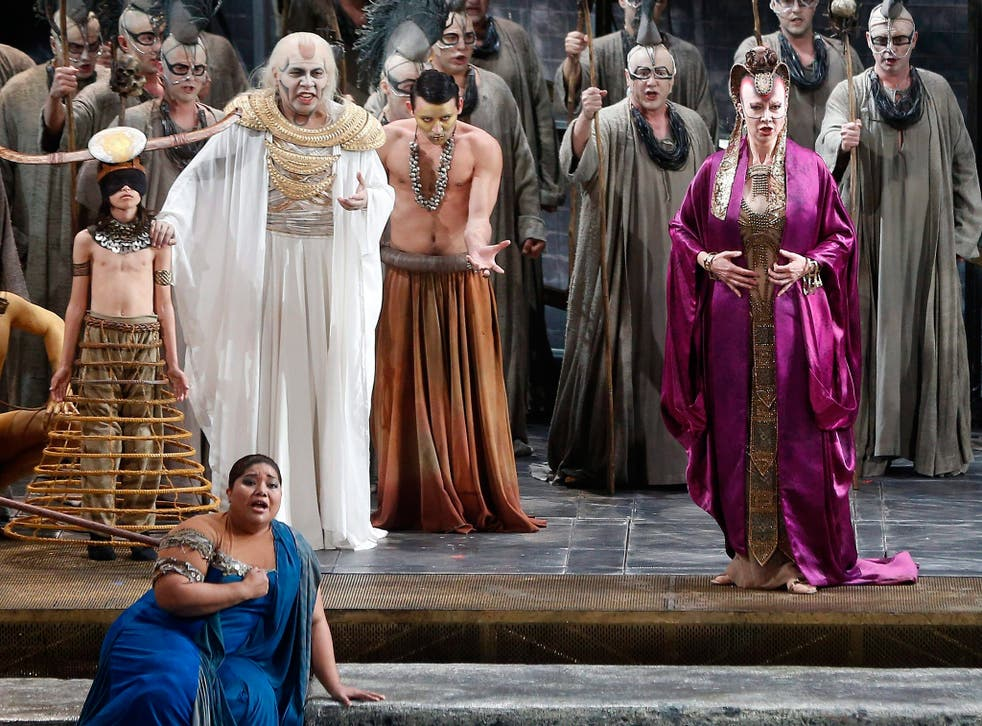 Opera singers perform in a production of Aida at the Palau de Les Arts in Valencia, Spain