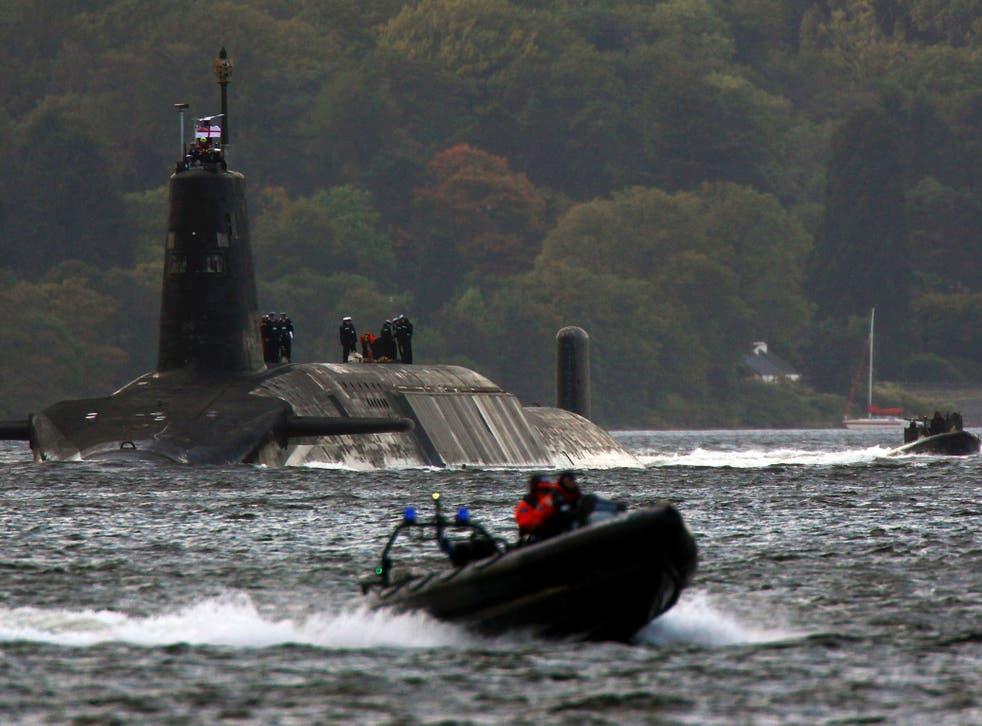A Trident nuclear submarine at Faslane Naval base