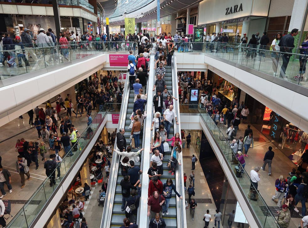 Shoppers peruse the outlets in the giant Westfield shopping centre in London. The latest data on growth from the UK is not too bad, with consumers driving the economy forward