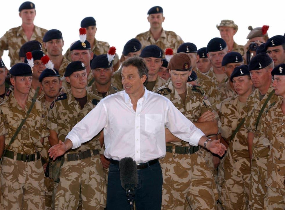 Tony Blair addressing troops in Basra in 2003