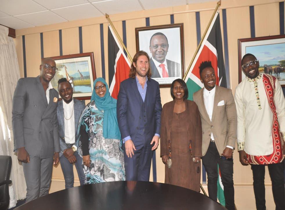 Professor Max Graham and Environment Secretary Judi Wakhungu (centre), flanked by the Kenyan pop phenomena Sauti Sol
