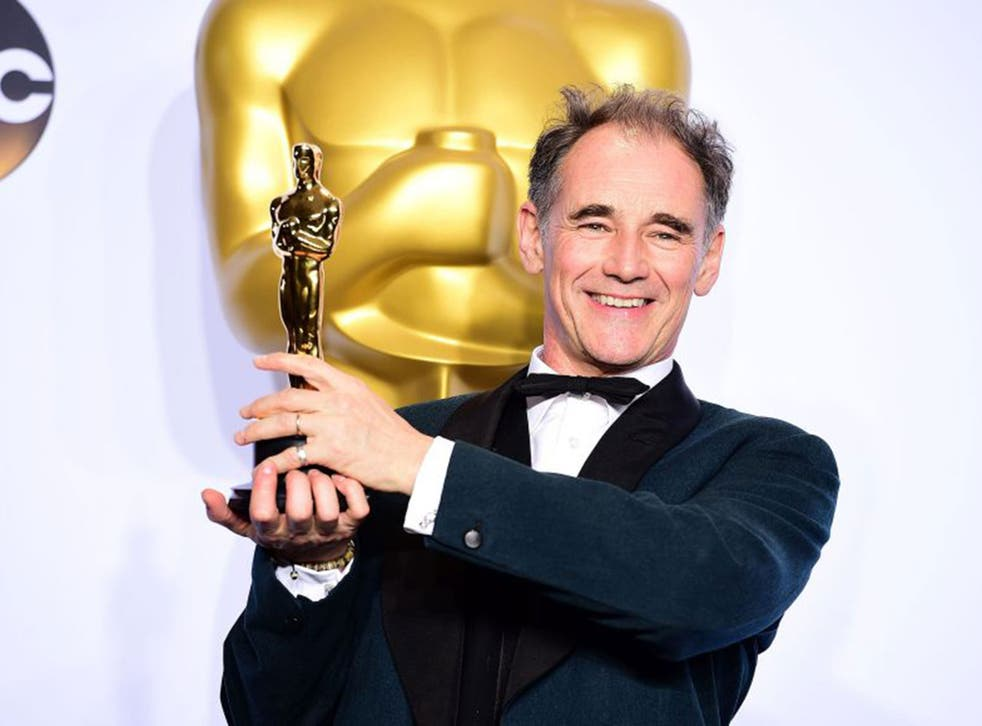 Mark Rylance clutches his Best Supporting Actor Oscar for his role in 'Bridge of Spies'