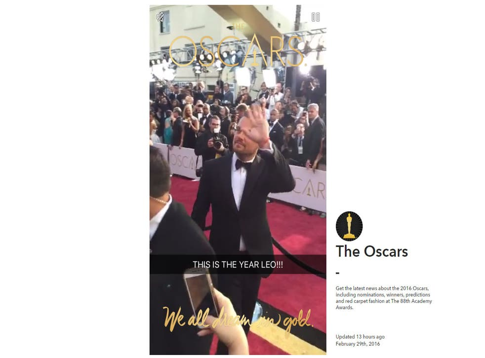 A screenshot from Snapchat's Oscar story web player