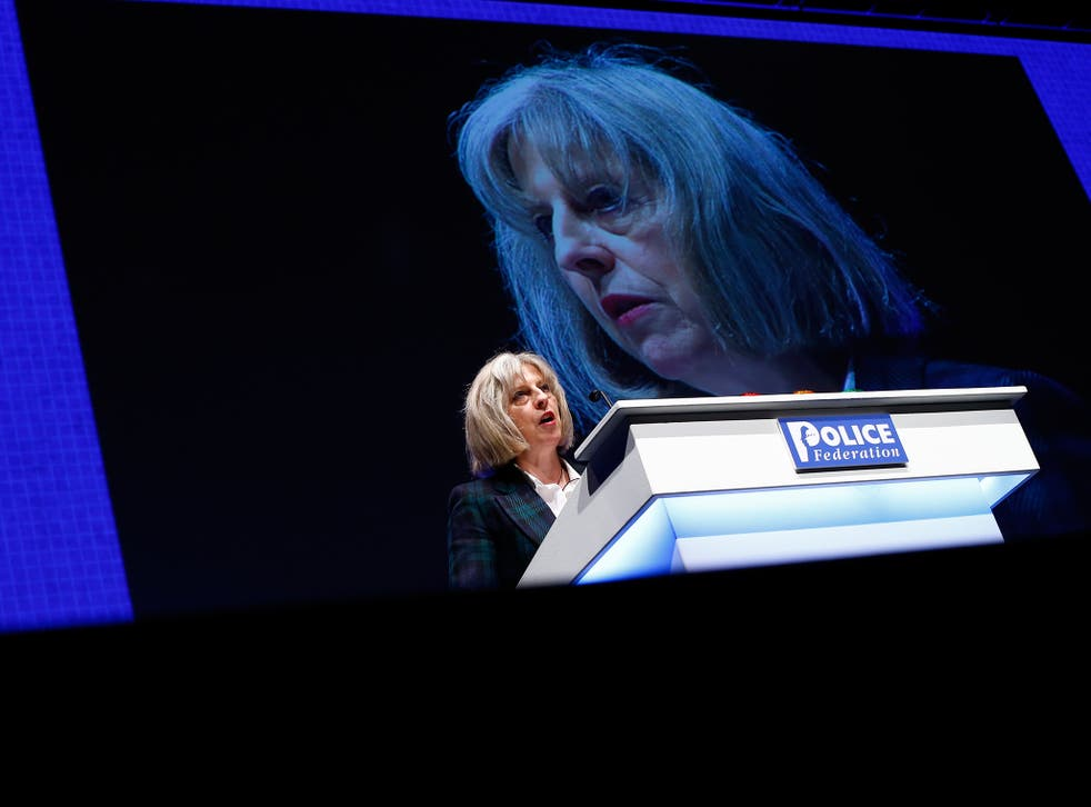 Britain's Home Secretary Theresa May addresses the Police Federation's conference in Bournemouth, southern England May 21, 2014