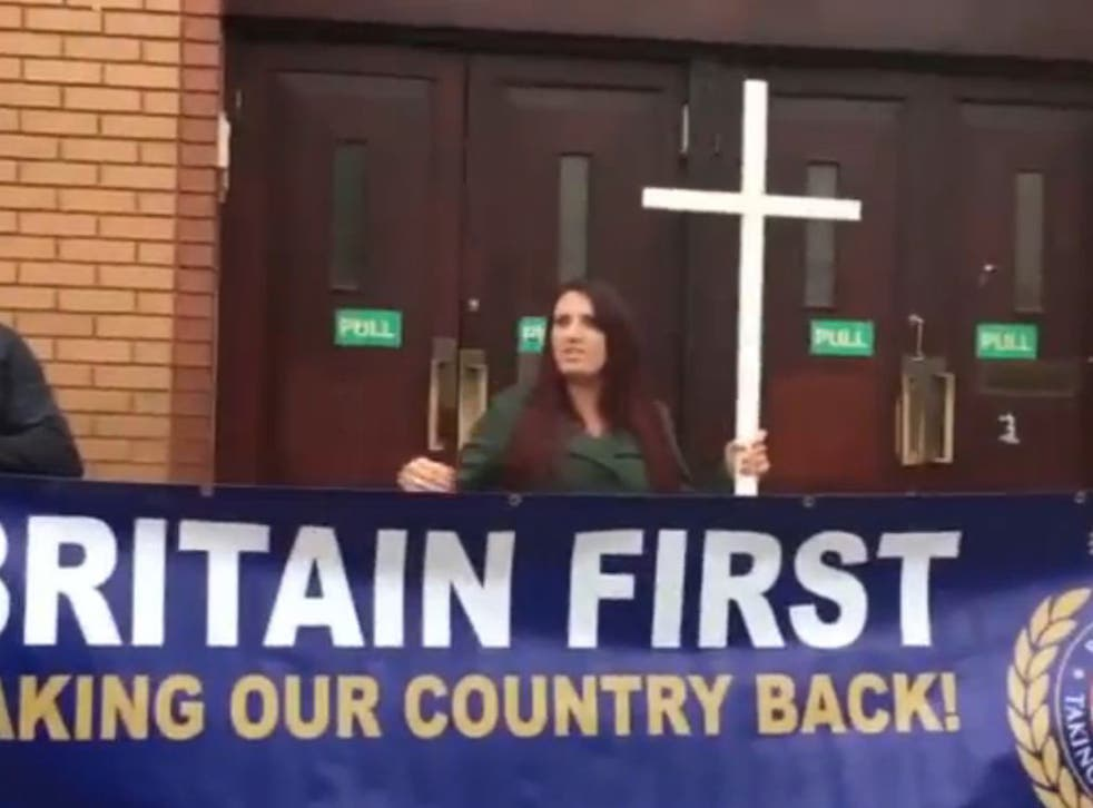 Britain First protesters picketing out a London mosque