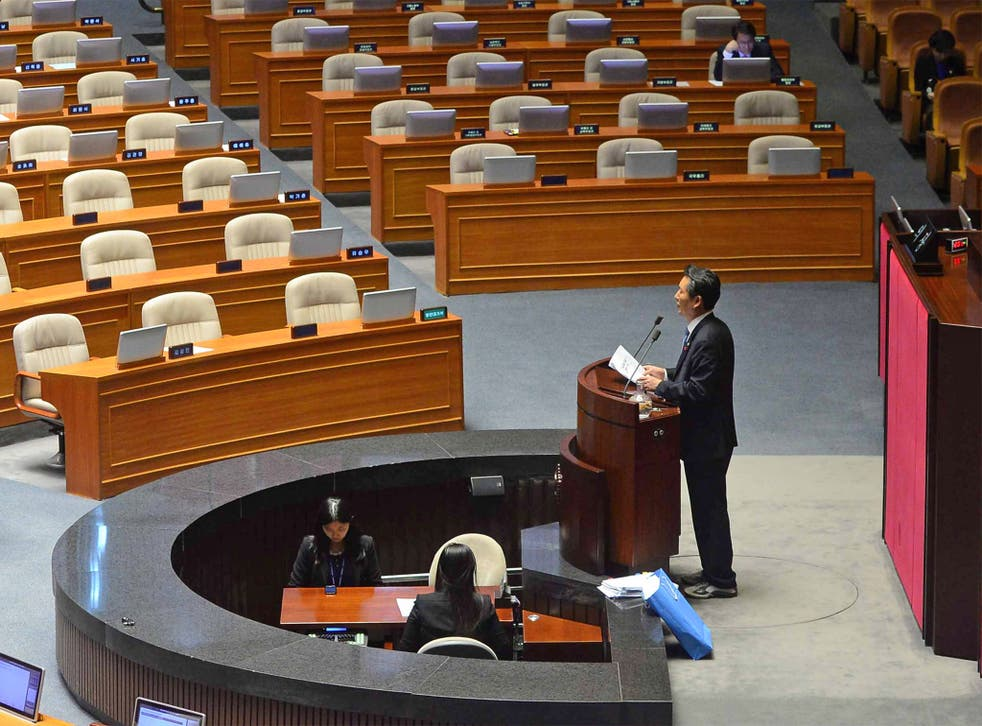 Jung Cheong Rae, of the Minjoo Party, spoke for nearly 12 hours at the National Assembly
