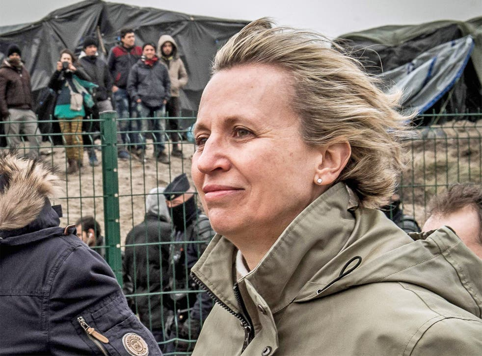 Prefect Fabienne Buccio during her visit to the Calais Jungle