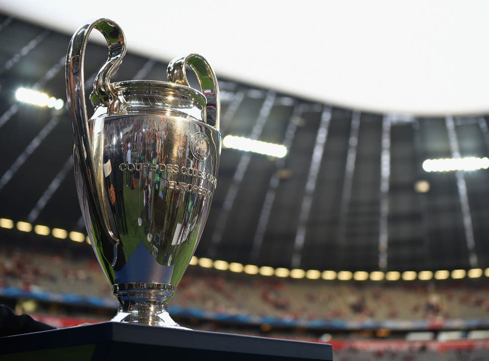 A view of the Champions League trophy at the Allianz Arena last season