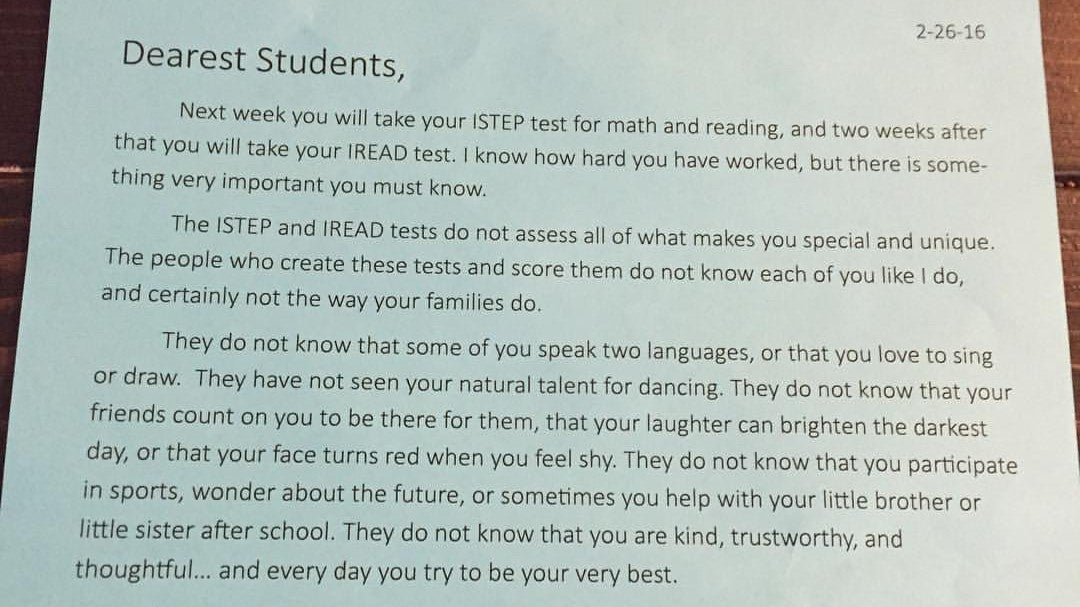 Indiana school teacher tells students tests do not define you in