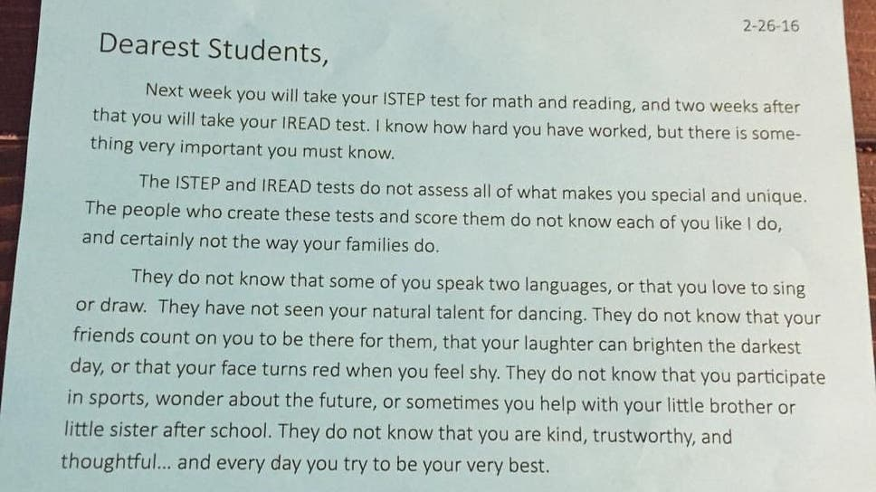 Indiana school teacher tells students tests do not define you in the letter pictured is one of several which have been issued to pupils from spiritdancerdesigns Image collections