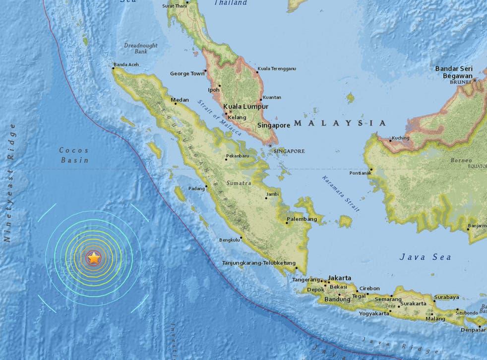 The earthquake struck 600kmoff the coast of Sumatra