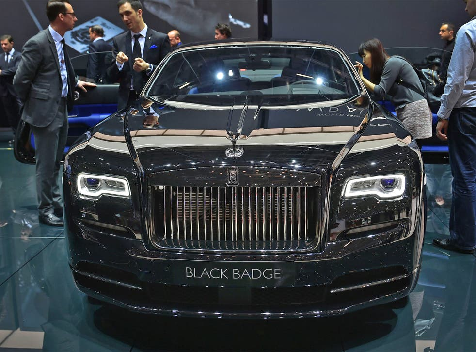 The new Rolls-Royce Wraith Black Badge car on display at the Geneva Motor Show on Wednesday