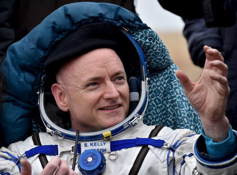 U.S. astronaut Scott Kelly reacts shortly after landing near the town of Dzhezkazgan (Zhezkazgan), Kazakhstan, March 2, 2016