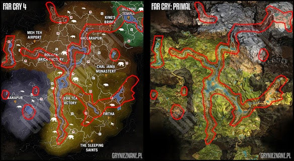 far cry 4 map vs primal