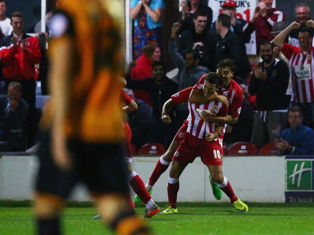 Accrington's Terry Gornell celebrates a goal earlier this season