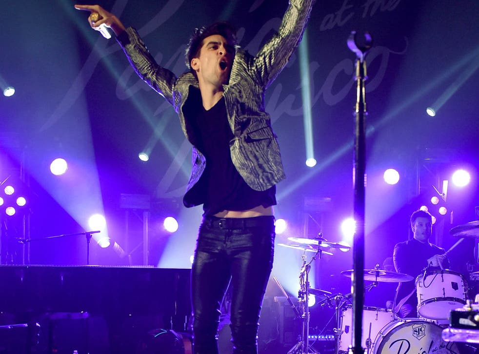 Singer Brendon Urie of Panic! at the Disco performs at the Tower Theatre