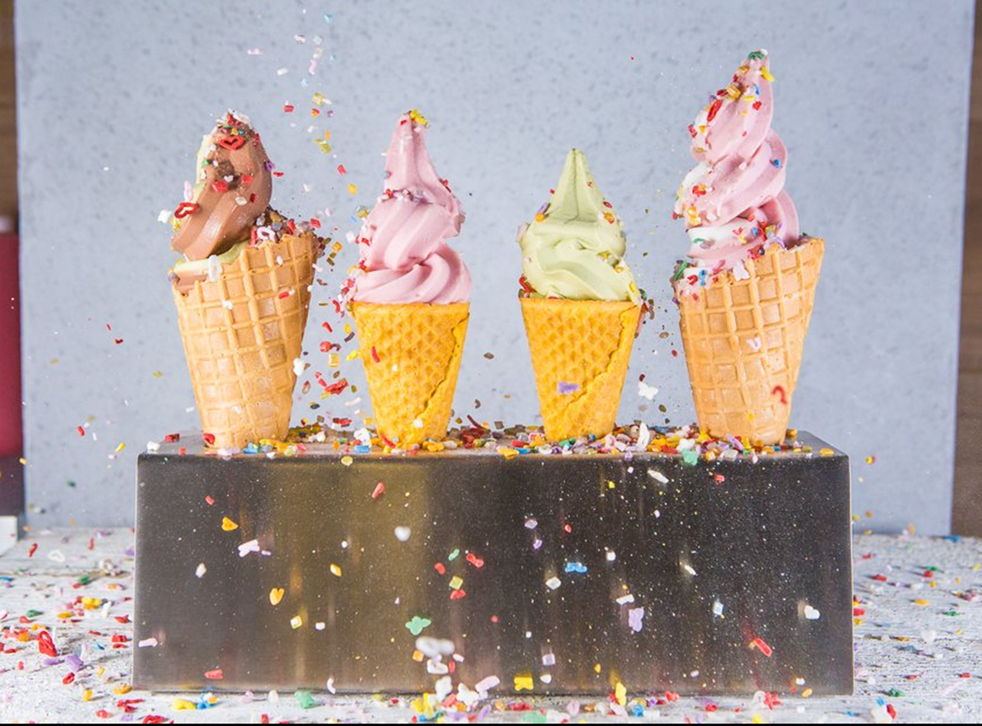 Dairy free ice cream in gluten free cones
