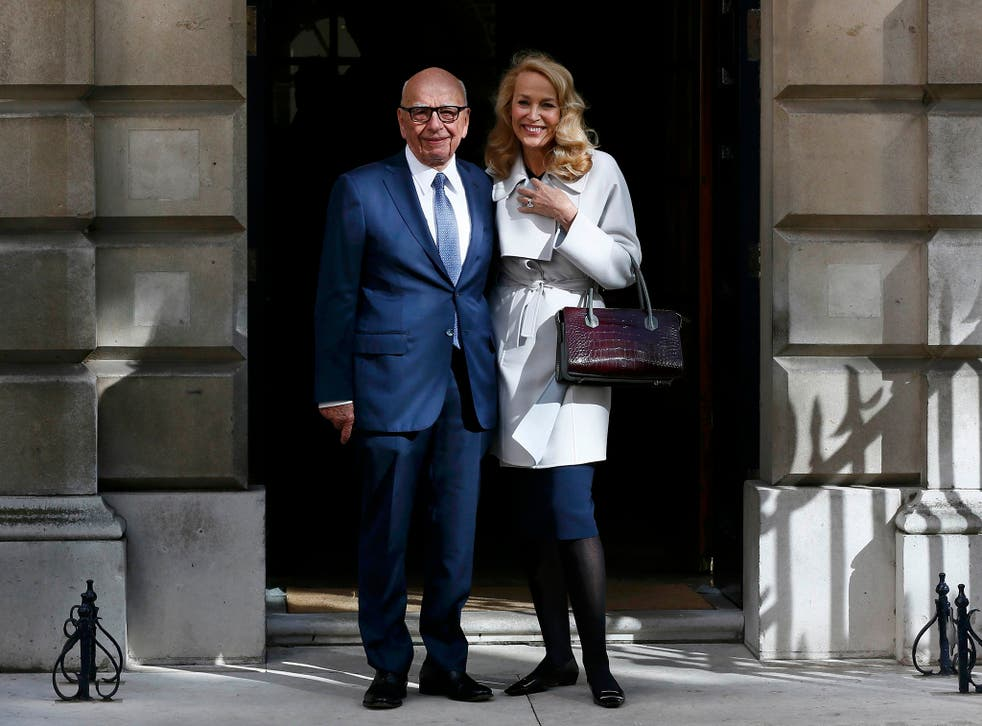 Rupert Murdoch and Jerry Hall pose for a photograph in London,