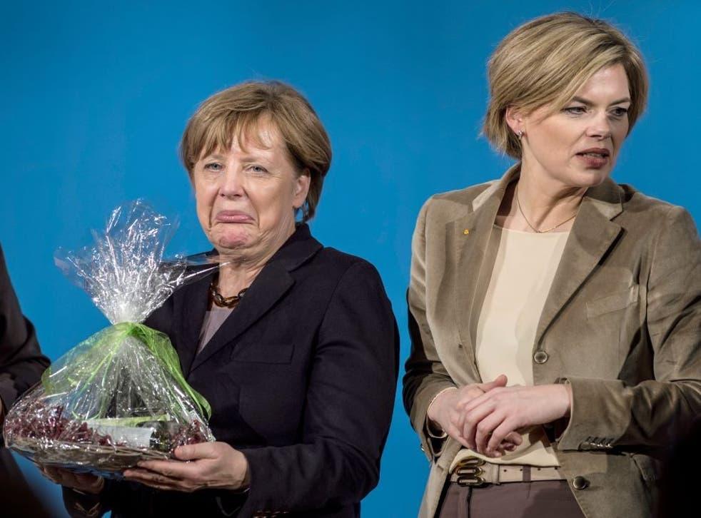 Angela Merkel at a rally with her protégé Julia Klöckner