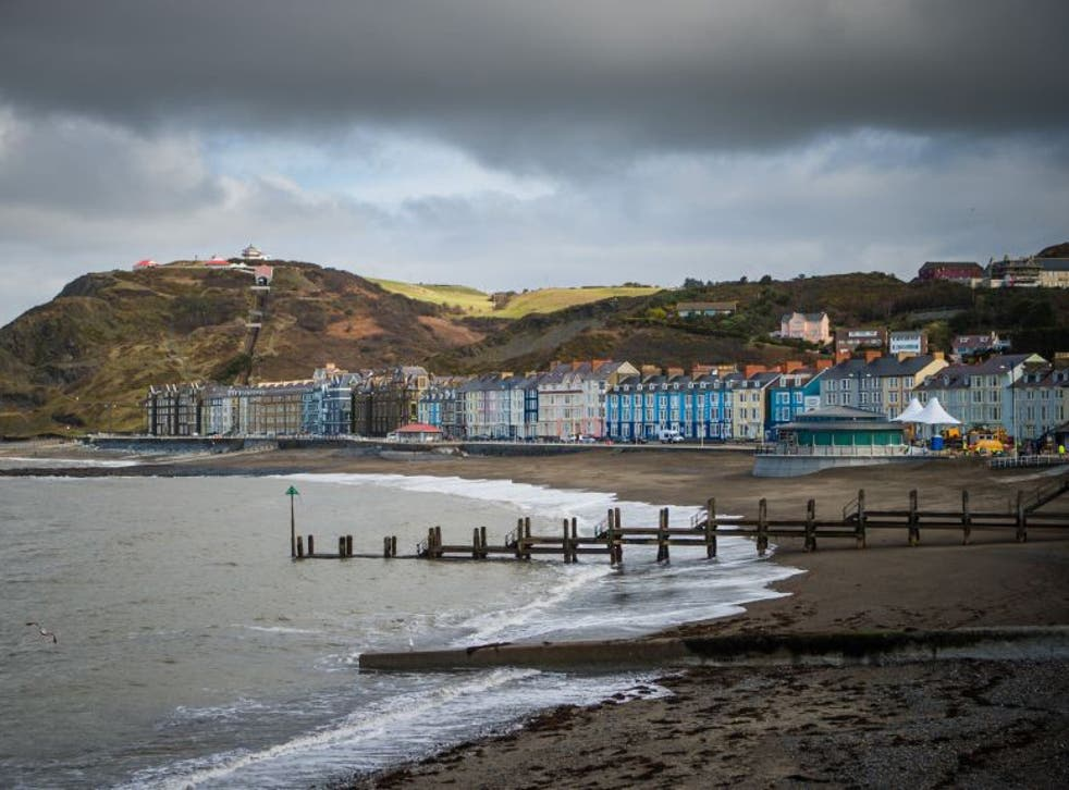Aberystwyth seafront in Ceredigion,  the most Europhile of 188 areas in the UK, according to a recent survey