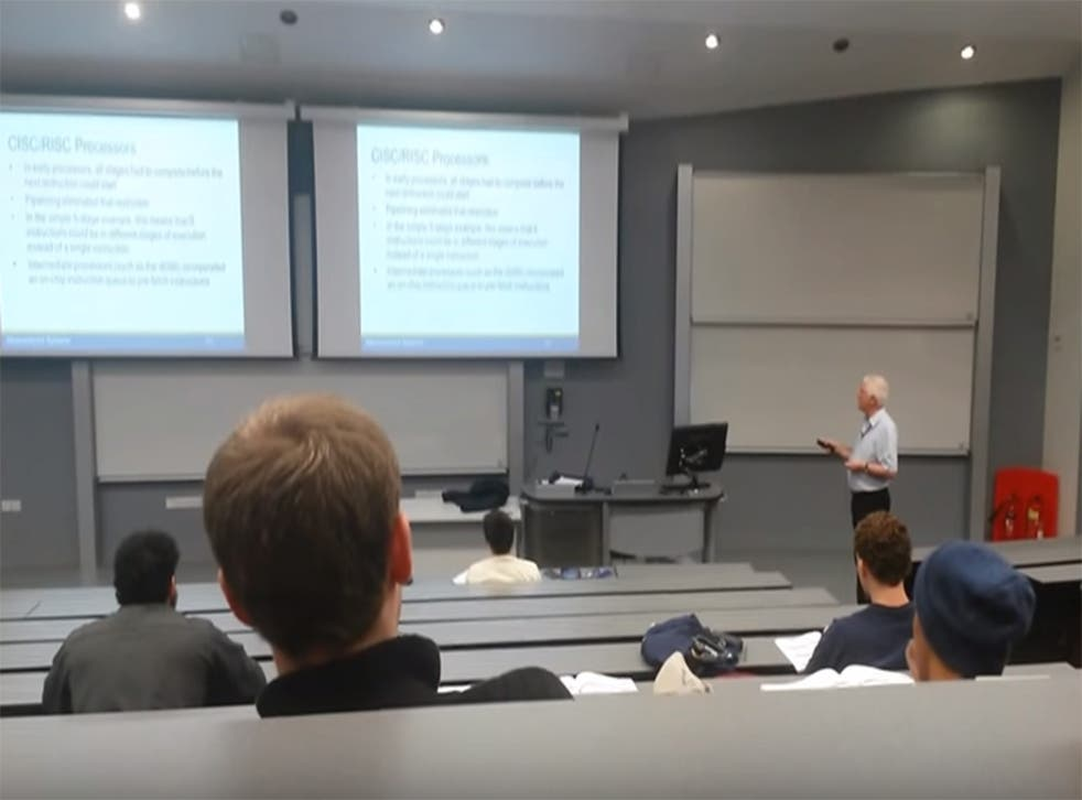 Mr Goddard giving a lecture at his Manchester University day job