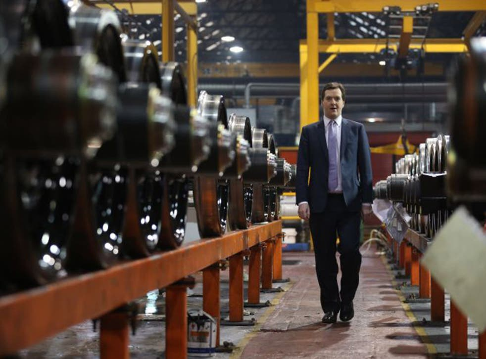 Chancellor George Osborne takes part in a tour of the train wheel manufacturers Lucchini UK, in Manchester, in 2013.  The first phase of HS2 opens in 2026