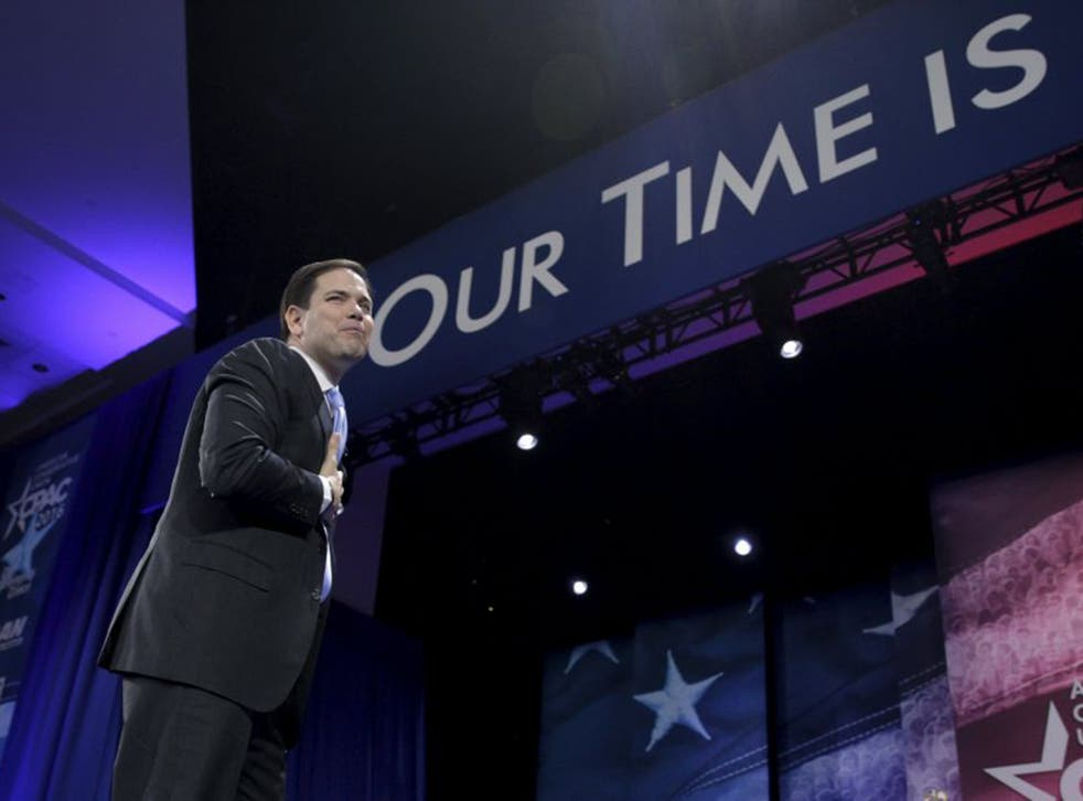 Marco Rubio at the conservative conference declined by Donald Trump