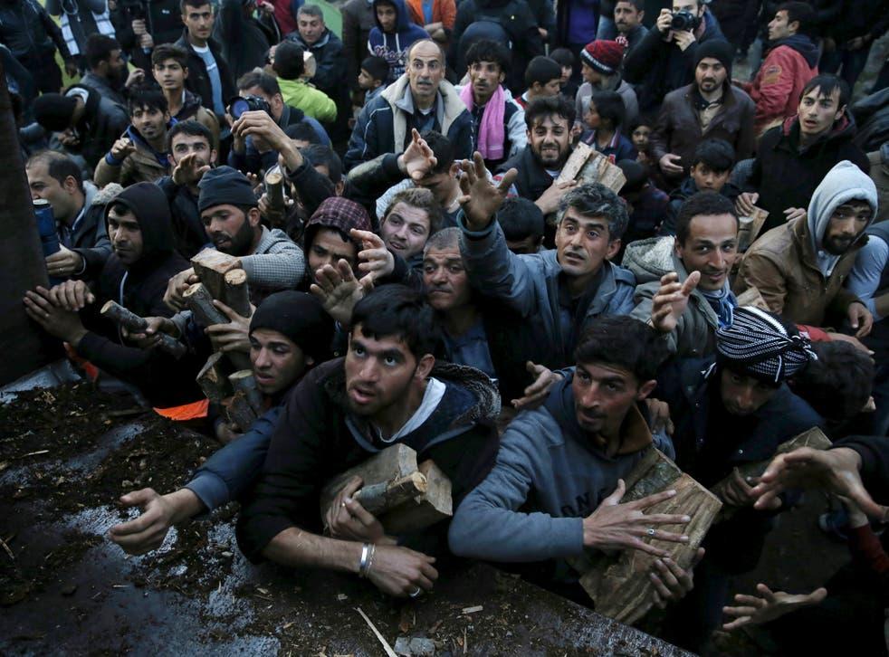 Migrants near Idomeni, Greece, scuffle over firewood