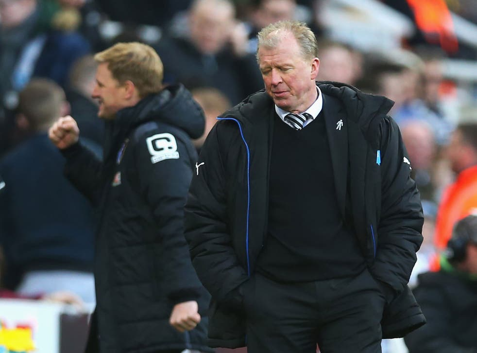 Newcastle United manager Steve McClaren reacts to Bournemouth scoring a goal