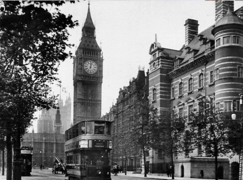 A view of the Norman Shaw buildings are labelled in this undated photograph as 'New Scotland Yard'