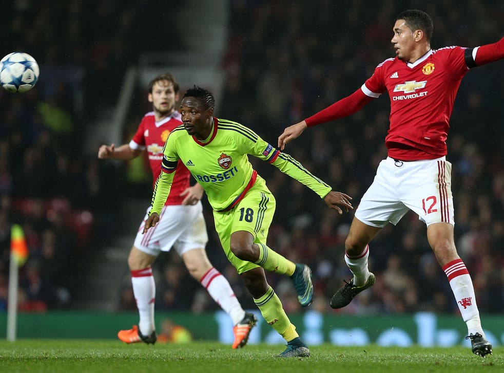 CSKA Moscow striker Ahmed Musa in action against Manchester United earlier this season