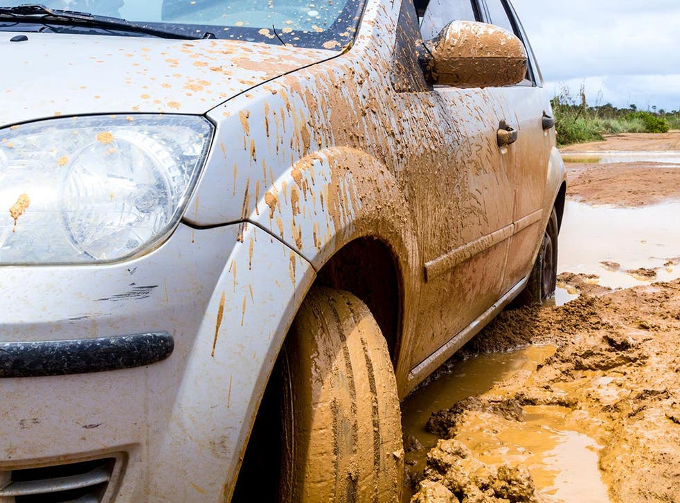 The guards needed to be rescued after their car got stuck in mud