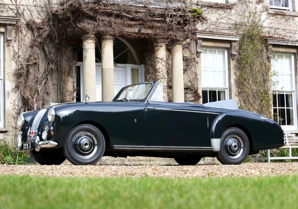 Prince Philip's vintage Aston Martin featuring extra vanity mirror on