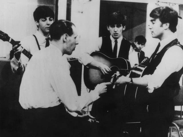 Sir George at a Beatles recording session in the early Sixties