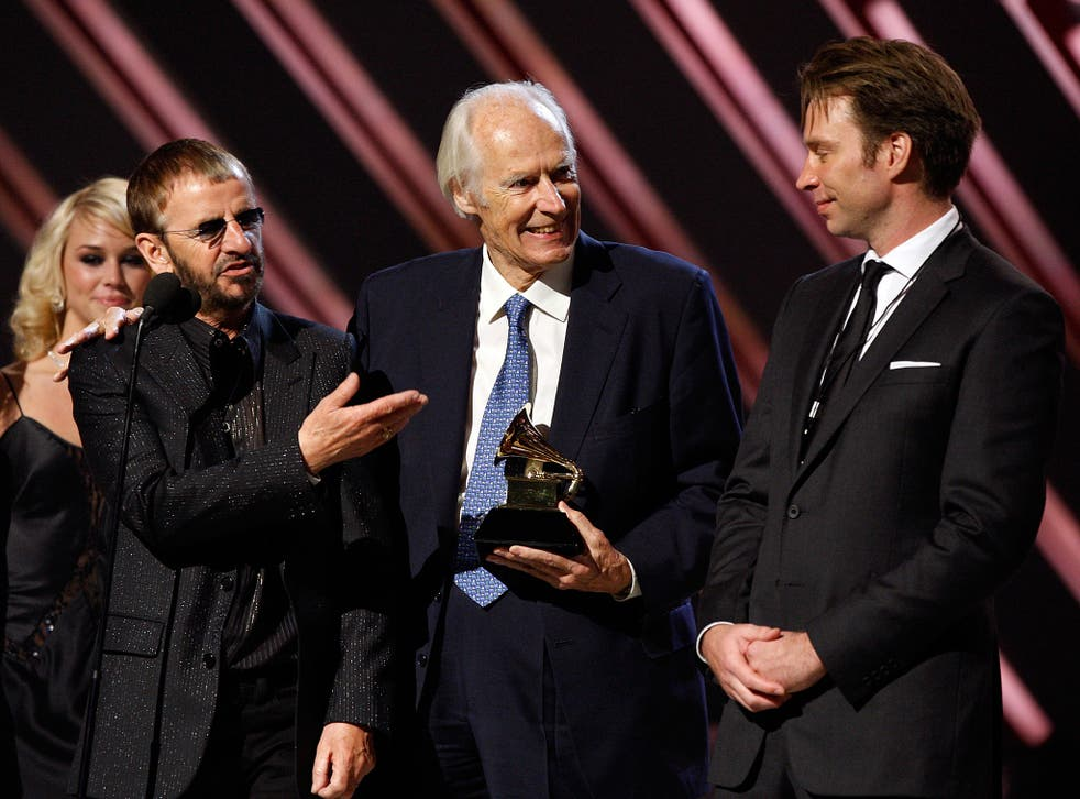 Martin on stage with Ringo Starr at the 2008 Grammys