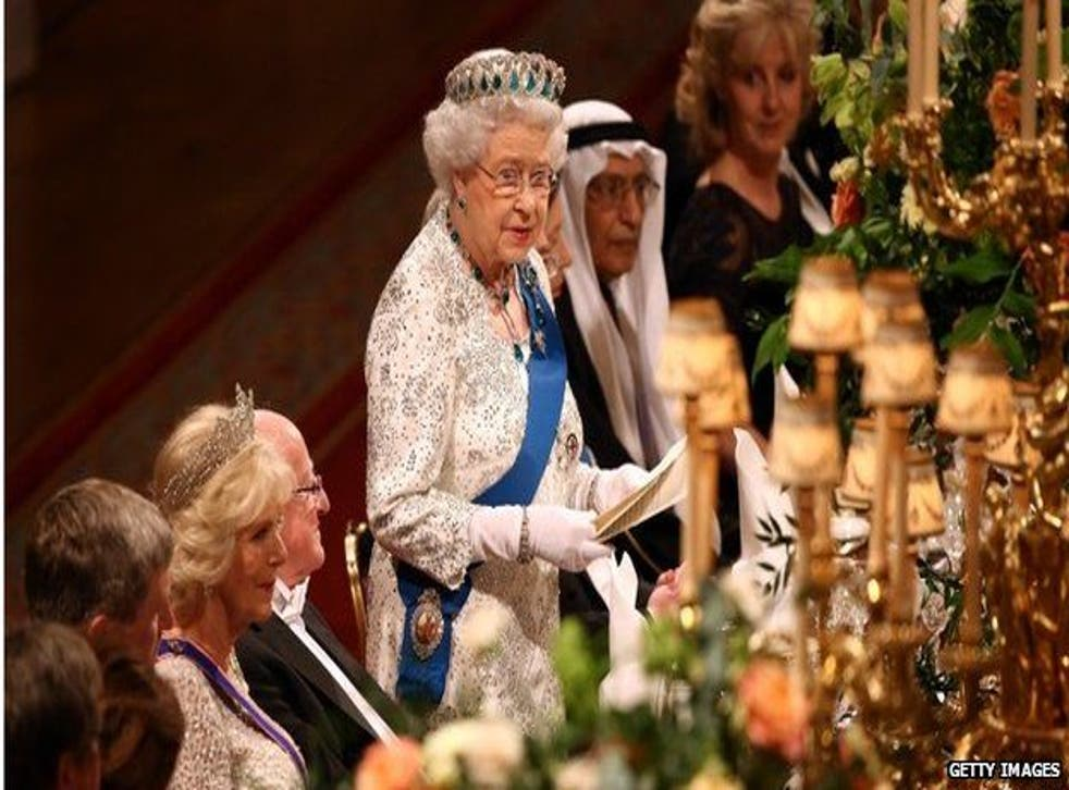 Her Majesty speaks at the State Banquet for the Irish president, 8 April 2014