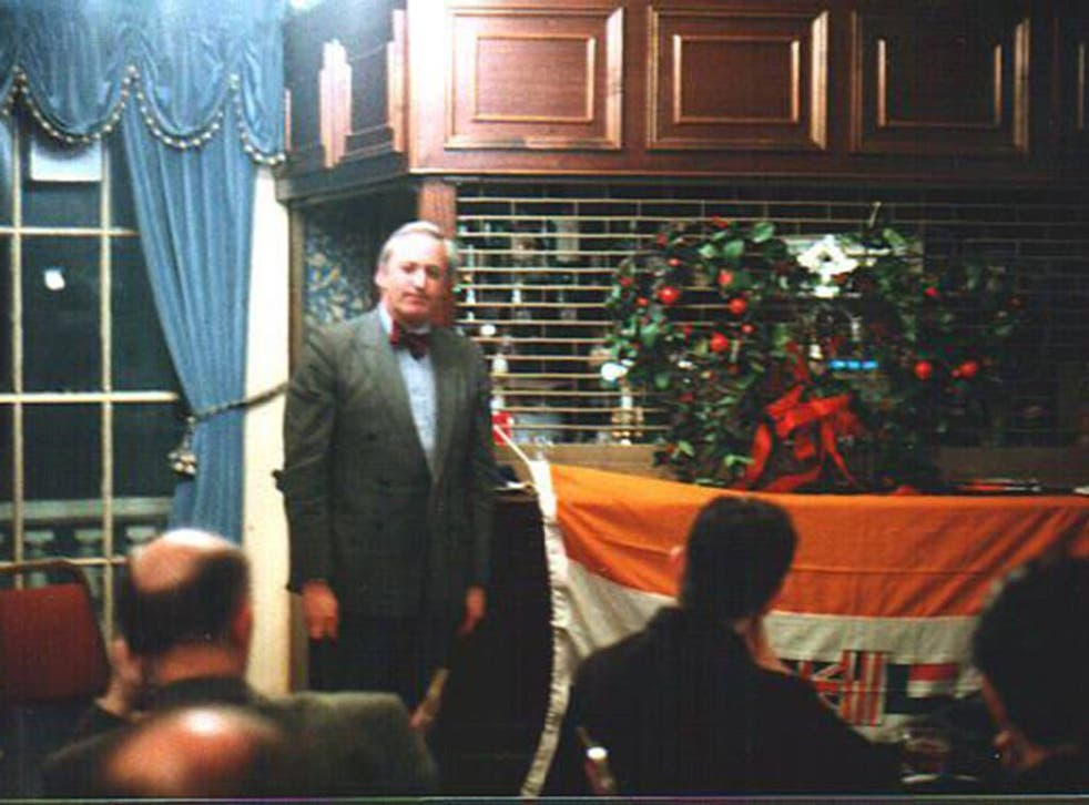 Neil Hamilton speaking as the guest of honour at a 1998 meeting of the pro-Apartheid Springbok Club in London
