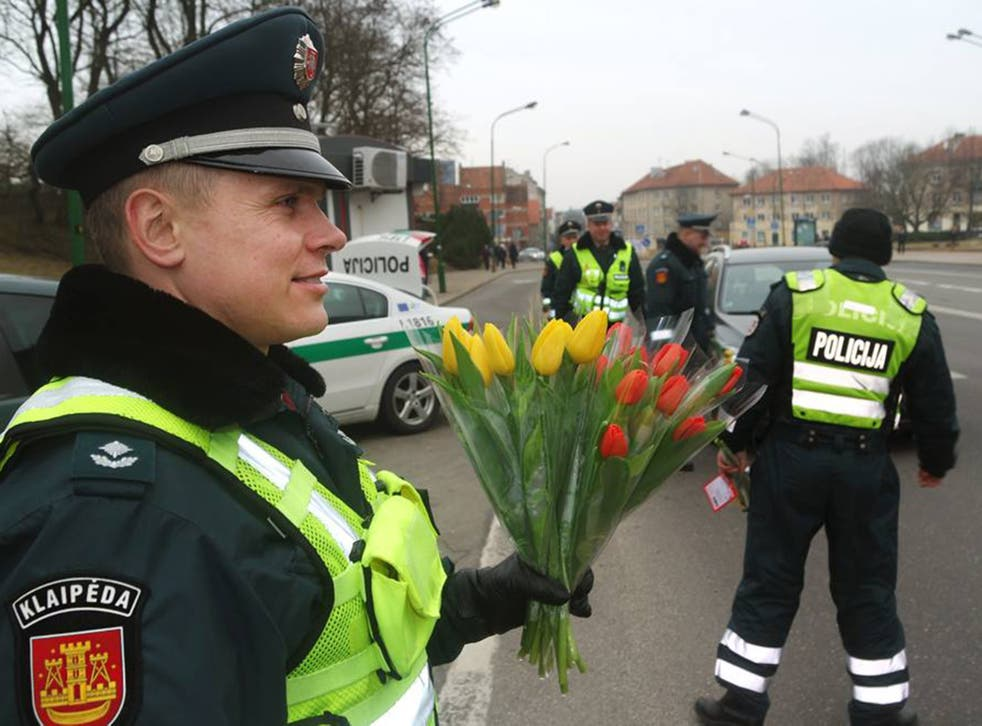 Police in Lithuania celebrate International Women's Day
