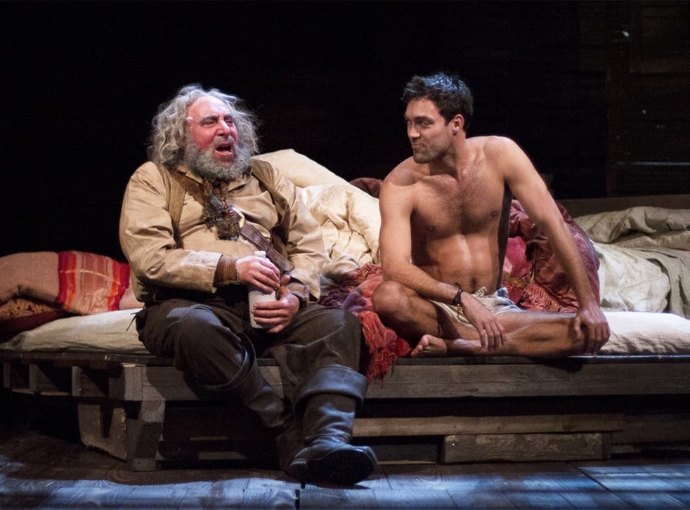 Antony Sher as Sir John Falstaff and Alex Hassell as Prince Hall in 'Henry IV, Part 1'