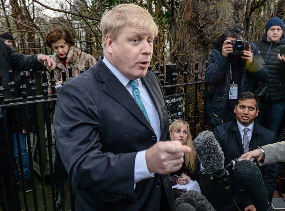 Boris Johnson speaking to journalists in London