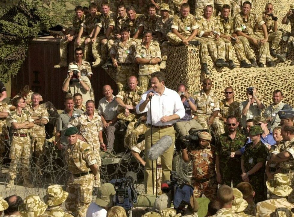 Former Prime Minister Tony Blair, pictured addressing British troops in October 2001