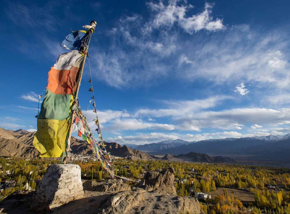 Flag up: a view of Ladakh's Himalayan landscape
