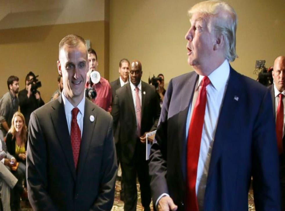 Corey Lewandowski, Mr Trump's campaign manager, has been accused of yanking the reporter