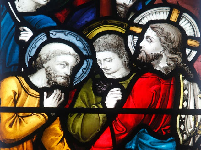 Mysterious men: stained glass